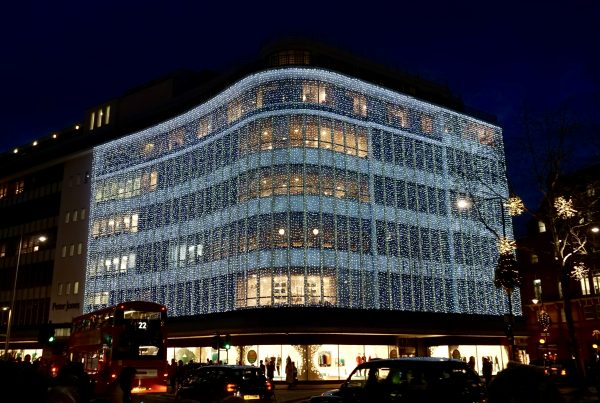 Peter Jones London exterior lighting draped from the top to the first floor