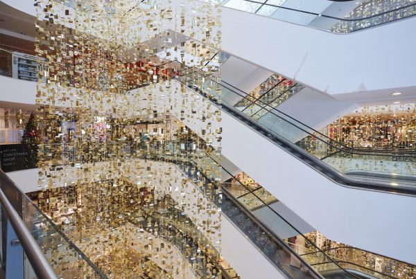 Suspended lighting and decorations in John Lewis