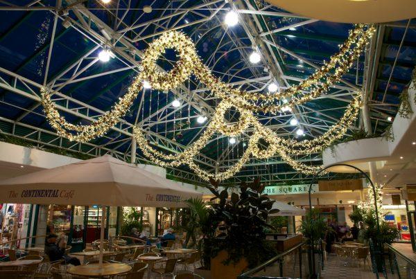 Christmas lighting installation at Tunsgate Centre