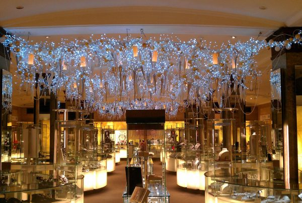 Bespoke interior lighting installation at Harrods Knightsbridge