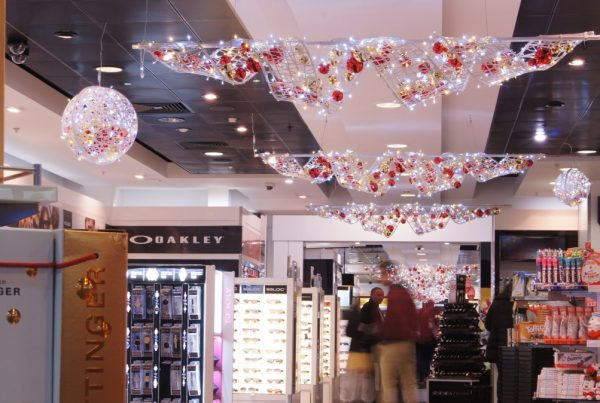 World Duty Free Gatwick decorations suspended from the ceiling