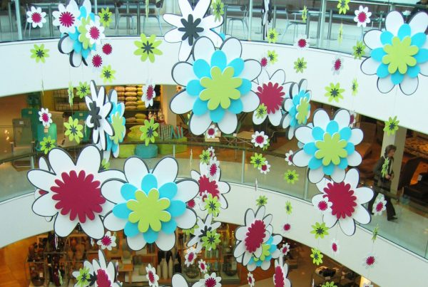 Spring flowers installation suspended from the ceiling at John Lewis at Partners