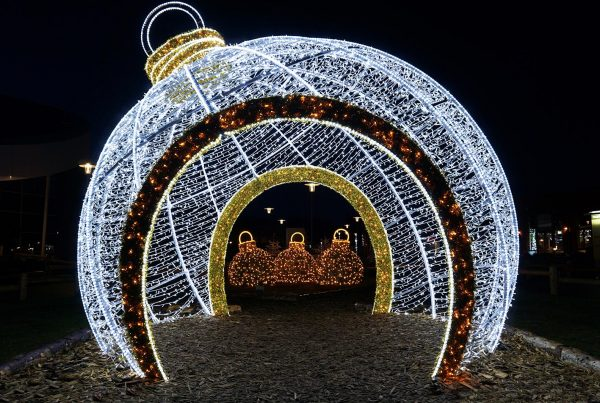 life size walk-through giant bauble at Centre Parcs Ireland, lit with led lighting